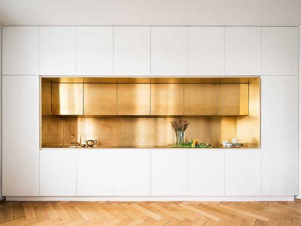 کابینت مدرن طلایی