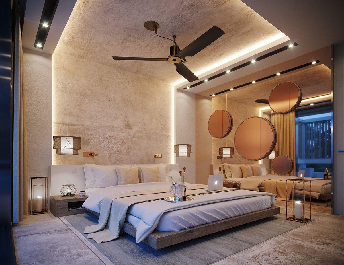 طراحی اتاق خواب ویلا مدرن